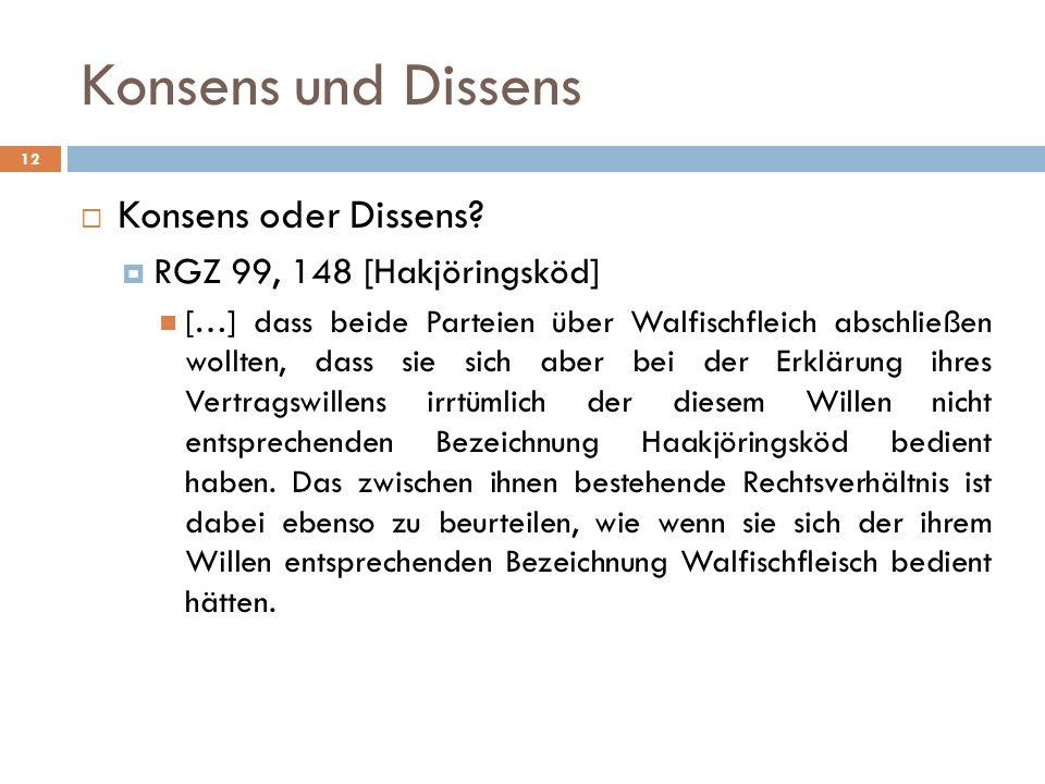 Konsens und Dissens Konsens oder Dissens RGZ 99, 148 [Hakjöringsköd]